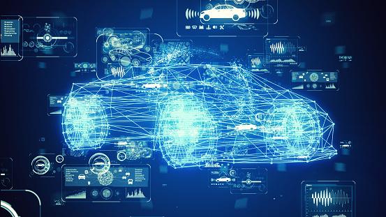 Automotive technology concept. Intelligent Transport Systems. Autonomous car. 3D rendering.