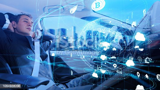 istock Automotive technology concept. IoT(Internet of Things). Autonomous car. Driverless vehicle. 1054938096