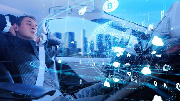 Fordonsteknik koncept. IoT (Sakernas Internet). Autonoma bil. Förarlösa fordon. bildbanksfoto