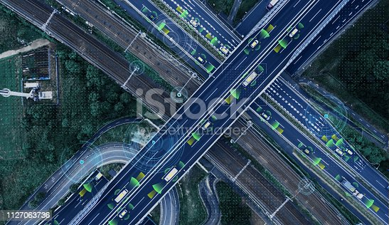 istock Automotive technology concept. ITS (Intelligent Transport Systems). ADAS (Advanced Driver Assistance System). 1127063736