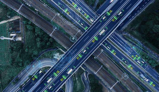 Fordonsteknik koncept. DESS (intelligenta transportsystem). ADAS (Advanced Driver assistans System). bildbanksfoto