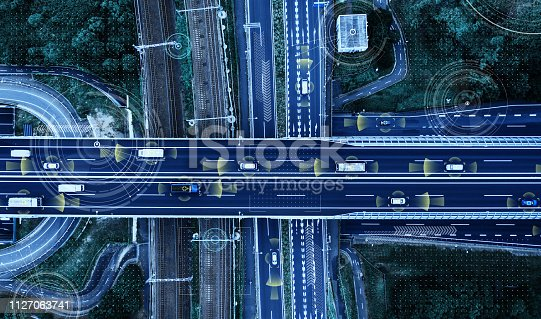 istock Automotive technology concept. ITS (Intelligent Transport Systems). ADAS (Advanced Driver Assistance System). 1127063741