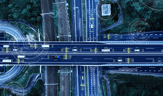 870169952 istock photo Automotive technology concept. ITS (Intelligent Transport Systems). ADAS (Advanced Driver Assistance System). 1127063741