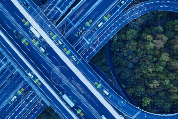 자동차 기술 개념입니다. 그것의 (지능형 교통 시스템)입니다. adas (고급 드라이버 지원 시스템)입니다. - 교통수단 뉴스 사진 이미지