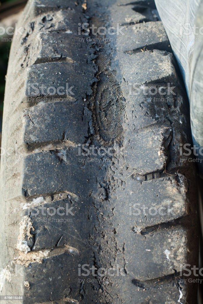 Automotive tires damage, burst, leakage stock photo