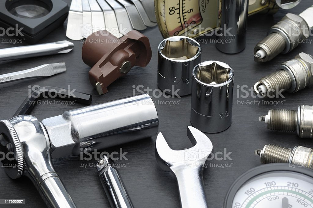 Automotive tune-up parts and tools royalty-free stock photo