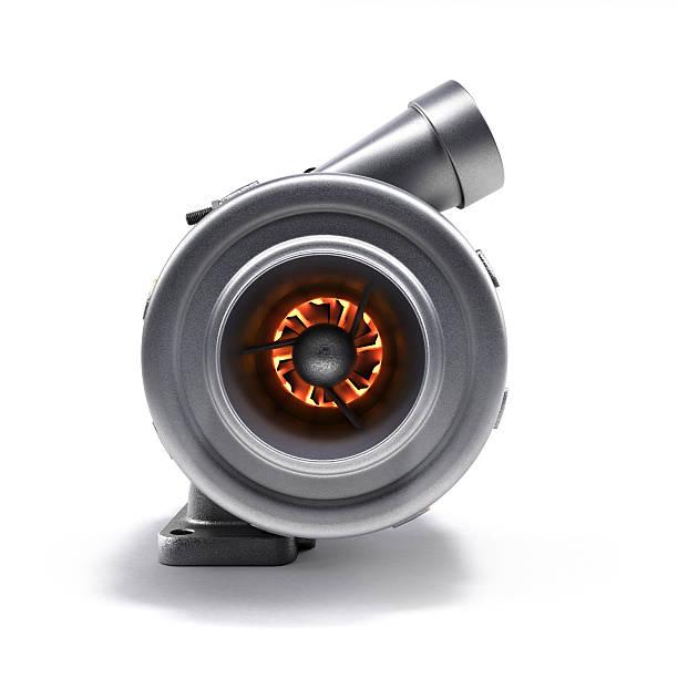 automotive turbocharger turbine 3d render on white - exhaust white background imagens e fotografias de stock