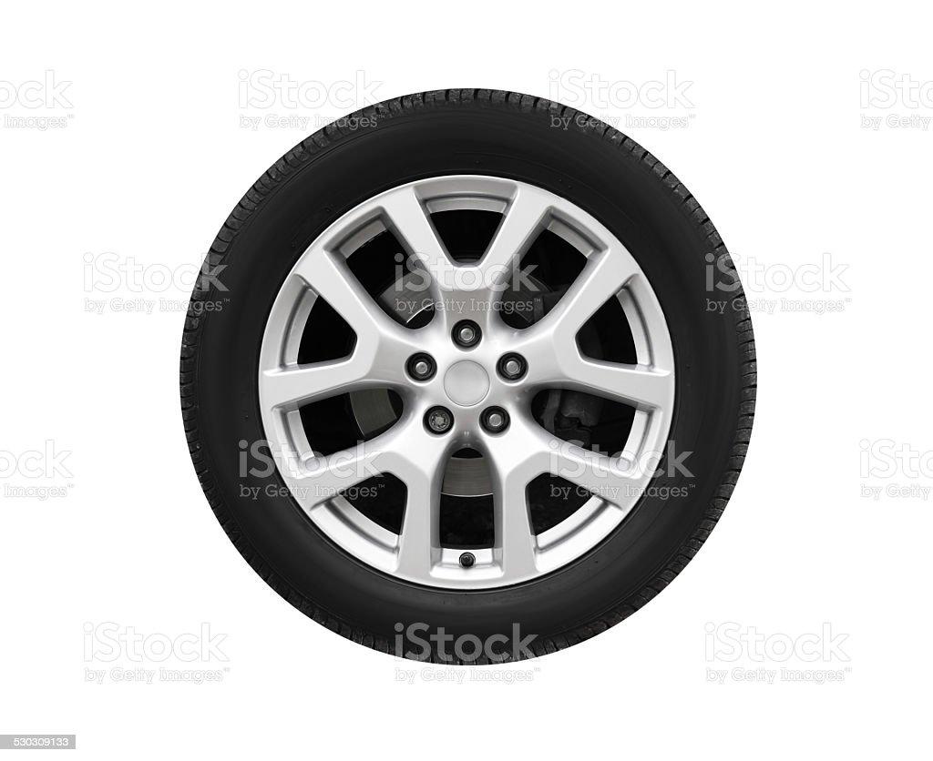 Automotive wheel on light alloy disc isolated on white stock photo