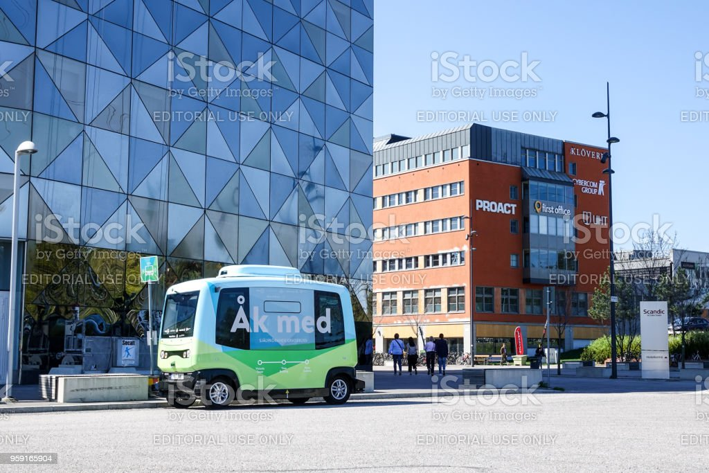 Autonomous bus / car in front of Scandic Victoria Tower stock photo