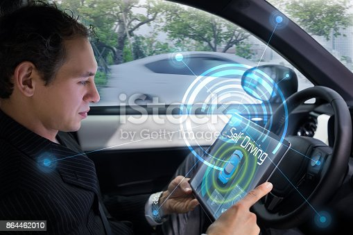 692837788istockphoto Autonomous car and wireless communication concept. Self driving vehicle. Driverless car. 864462010