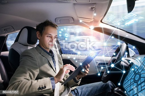 istock Autonomous car and wireless communication network concept. Self driving vehicle. 864462052