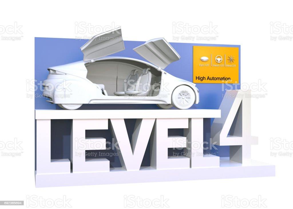 Autonomous car classification of level 4 stock photo