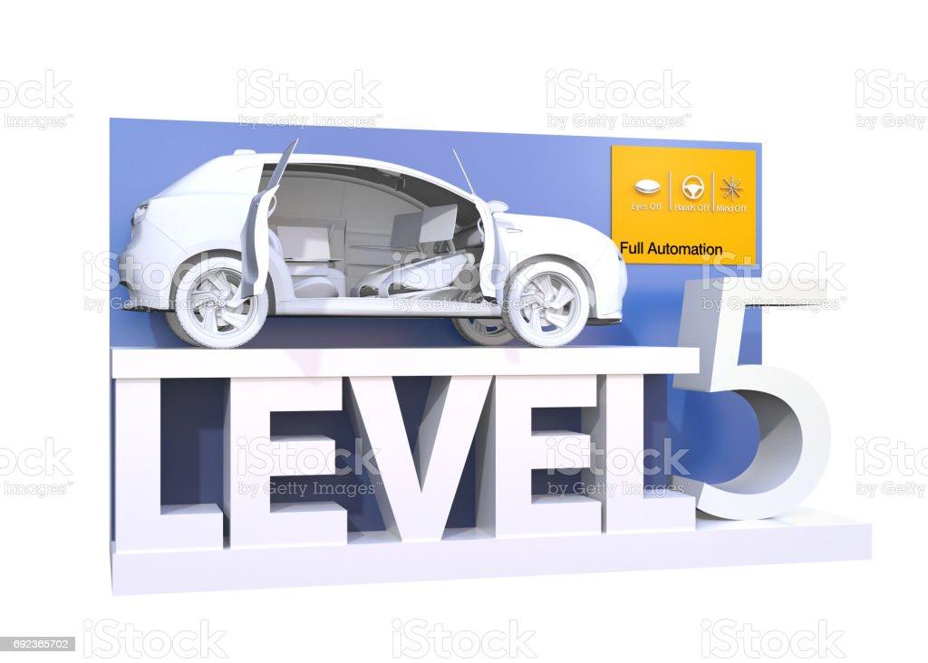Autonomous car classification of level 5 stock photo