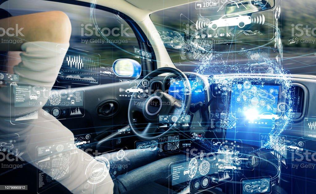 Autonomous car concept. Driverless vehicle. - Royalty-free Adult Stock Photo