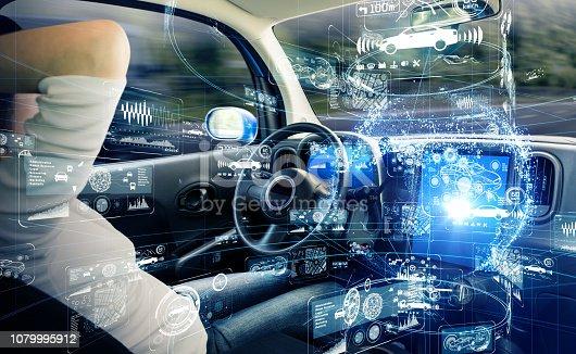 692819426istockphoto Autonomous car concept. Driverless vehicle. 1079995912