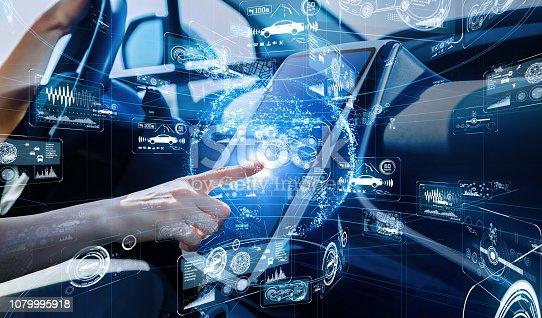 istock Autonomous car concept. Driverless vehicle. 1079995918