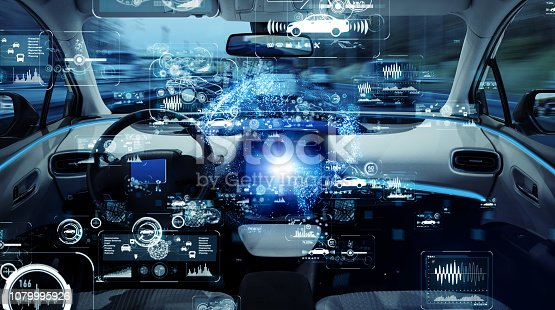 istock Autonomous car concept. Driverless vehicle. 1079995926