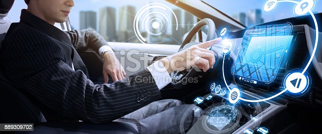 istock Autonomous car concept. Driverless vehicle. 889309702
