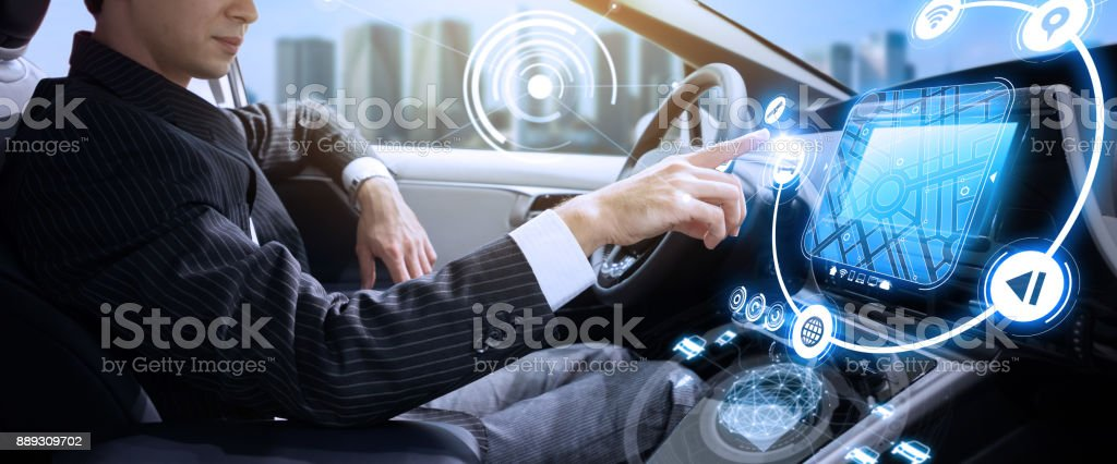 Autonomous car concept. Driverless vehicle. stock photo