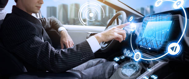 autonomous car concept. driverless vehicle. - self driving car stock photos and pictures