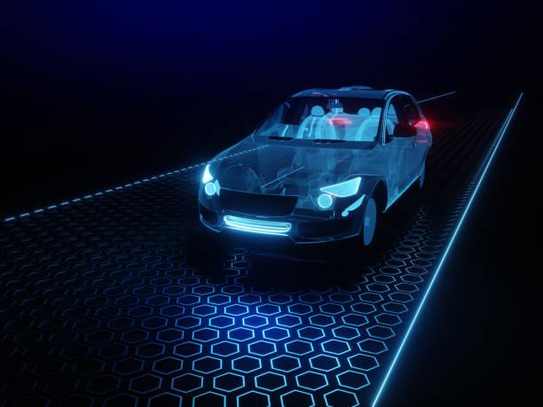 Autonomous car Driverless vehicle stock photo