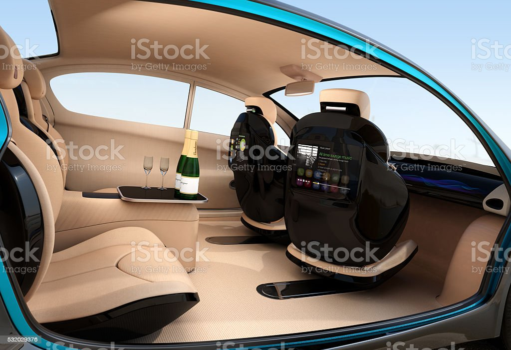Autonomous car interior concept. Luxury interior serve cool drink service stock photo