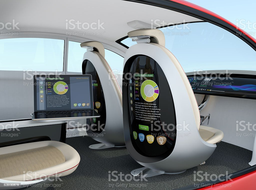 Autonomous car interior concept stock photo