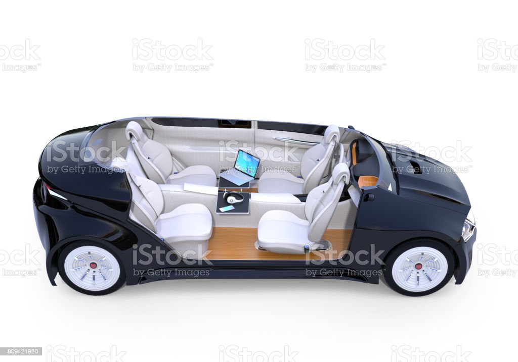 Autonomous car interior stock photo
