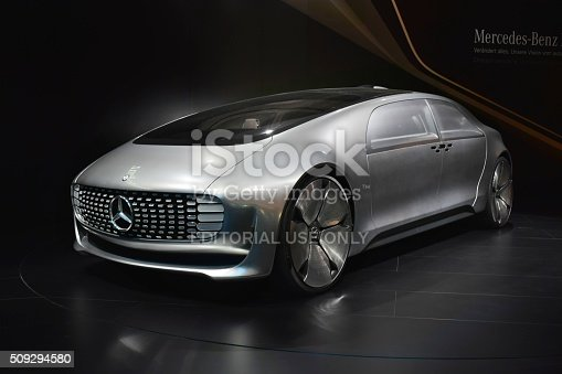Frankfurt, Germany - September, 15th, 2015: The presentation of autonomous car Mercedes-Benz F 015 on the motor show. This prototype demonstrates how will be look the new cars from Mercedes in future.