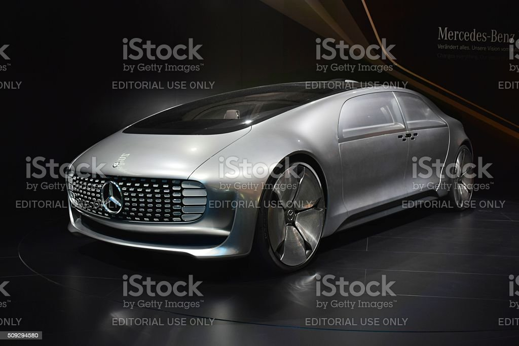 Autonomous car Mercedes-Benz F 015 on the motor show stock photo
