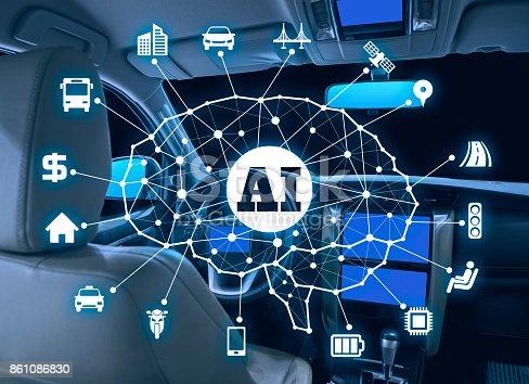 istock autonomous car with AI(Artificial Intelligence) concept. 861086830