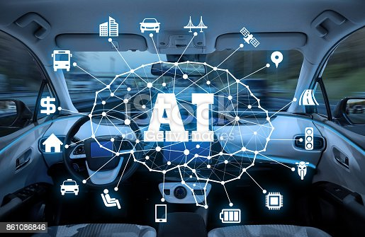 istock autonomous car with AI(Artificial Intelligence) concept. 861086846