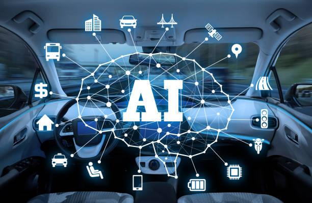 autonoma bil med AI (artificiell intelligens) koncept. bildbanksfoto