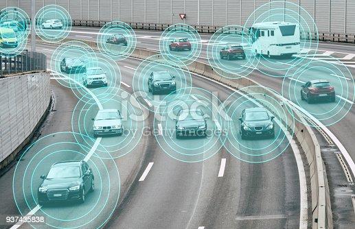 istock Autonomous Cars on Road 937435838