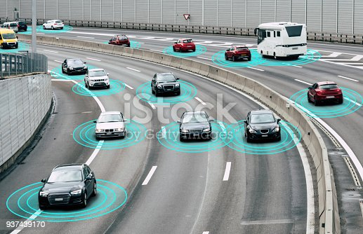 istock Autonomous Cars on Road 937439170