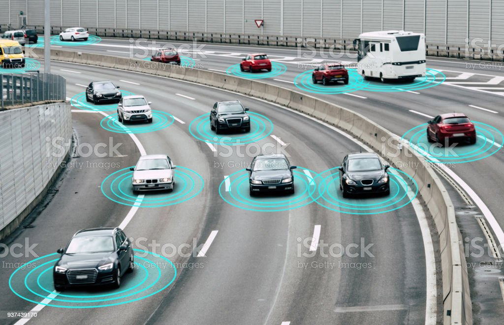Autonomous Cars on Road stock photo