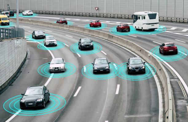 autonomous cars on road - self driving car stock photos and pictures