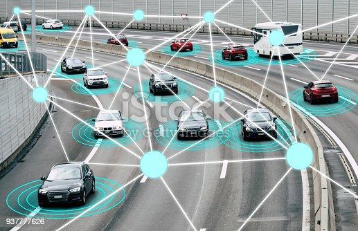 istock Autonomous Cars on Road 937777626