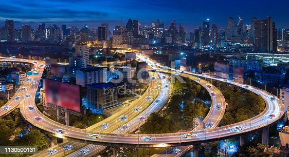 istock Autonomous cars with automatic sensor driving on city with wireless connection 1130500131
