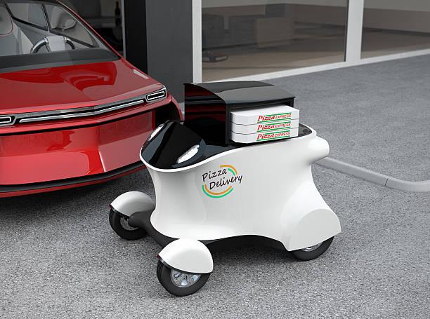 autonomous delivery robot in front of the garage - delivery robot bildbanksfoton och bilder