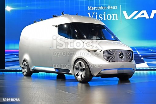 Stuttgart, Germany - September 7th, 2016: World premiere of zero emission autonomous Mercedes-Benz Vision Van Concept. We can see the drones on the roof of the van. This prototype demonstrates how will be look the new commercial vehicles from Mercedes in future.