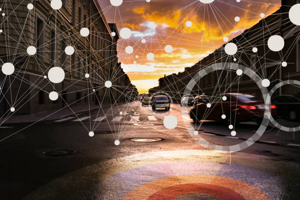 Autónomos inteligentes Auto conducción coches en la ciudad inteligente interconectada - foto de stock