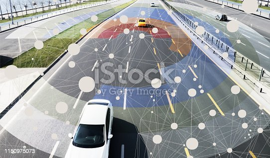 istock Autonomous intelligent self driving cars in interconnected smart city 1150975073