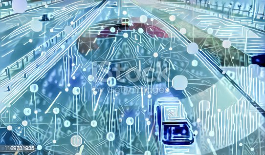 692819426istockphoto Autonomous intelligent self driving cars in interconnected smart city with blue tone 1169731935
