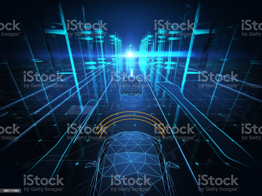 Autonomous self drive vehicle stock photo