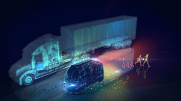 Autonomous self drive vehicle stock photo