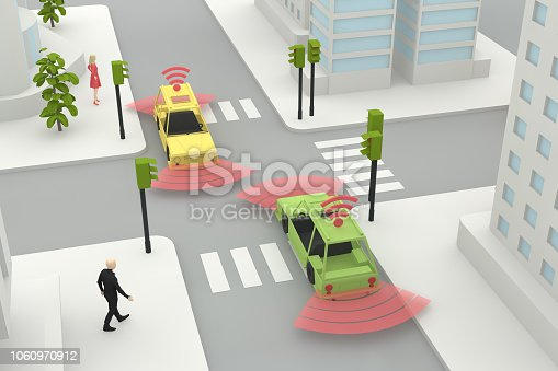 istock Autonomous, Self Driving, Driverless, Connected Car, Smart City Concept 1060970912