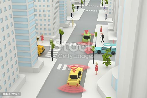 istock Autonomous, Self Driving, Driverless, Connected Car, Smart City Concept 1060972612