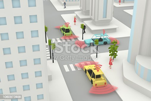 istock Autonomous, Self Driving, Driverless, Connected Car, Smart City Concept 1060972858