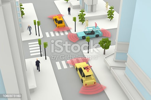 istock Autonomous, Self Driving, Driverless, Connected Car, Smart City Concept 1060973160